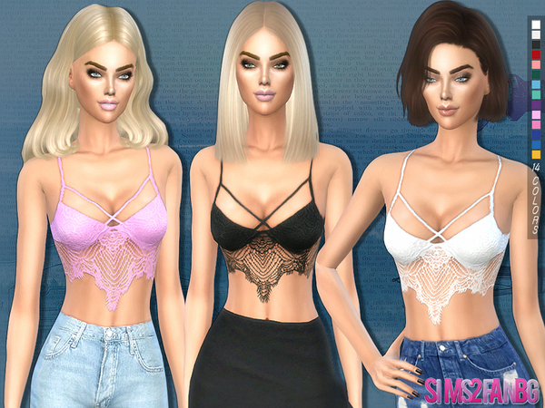 Sims 4 194 Lace top by sims2fanbg at TSR