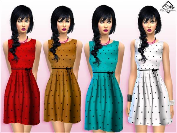 Sims 4 PolkaDot Dress New by Devirose at TSR