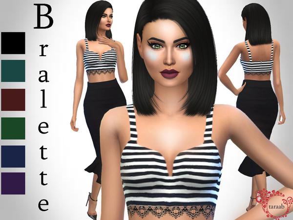 Sims 4 Striped Bralette Top by taraab at TSR