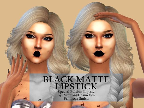 Sims 4 Black Matte Lipstick by PrimroseSmith at TSR
