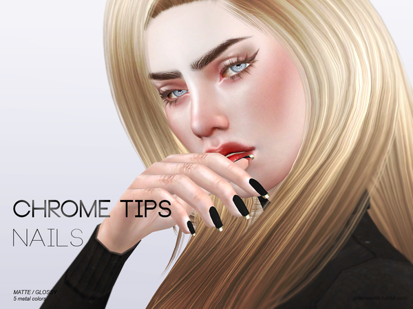 Chrome Tips Nails N15 by Pralinesims at TSR image 510 Sims 4 Updates