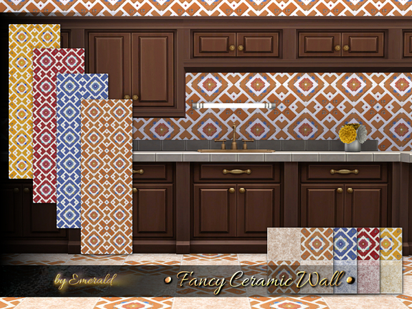 Sims 4 Fancy Ceramic Wall by emerald at TSR