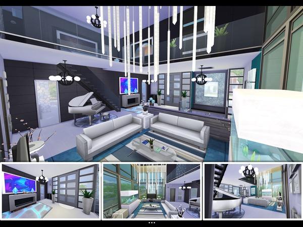 Sims 4 The Aquamarine modern house by mlpermalino at TSR