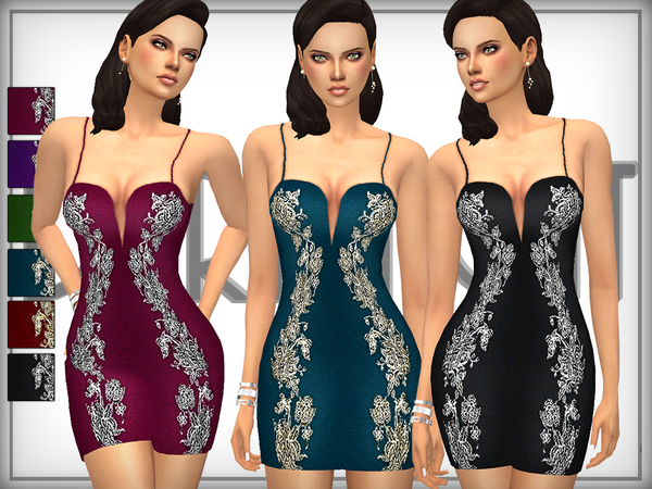 Embroidered Mini Bodycon Dress by DarkNighTt at TSR image 560 Sims 4 Updates