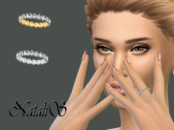 Sims 4 Crystal Pave Left Ring by NataliS at TSR