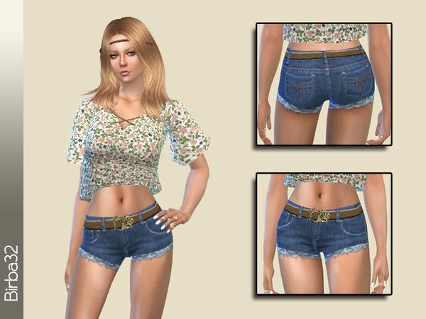 Sims 4 Denim Shorts with Belt by Birba32 at TSR