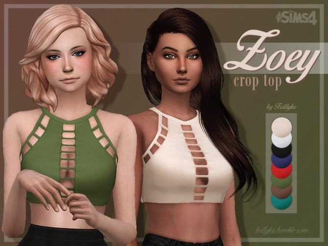 Zoey Crop Top At Trillyke 187 Sims 4 Updates