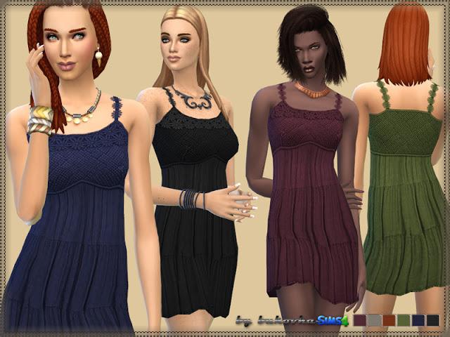 Sims 4 Crochet yoke tier Dress at Bukovka