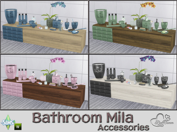 Mila Bathrom Accessories by BuffSumm at TSR image 715 Sims 4 Updates