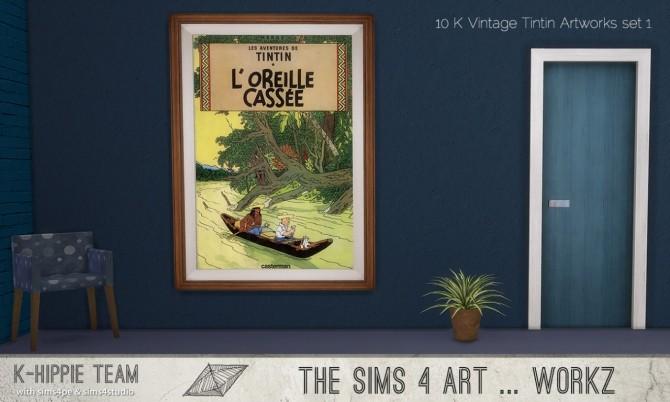 Sims 4 K Vintage Tintin Artworks set 1 at K hippie