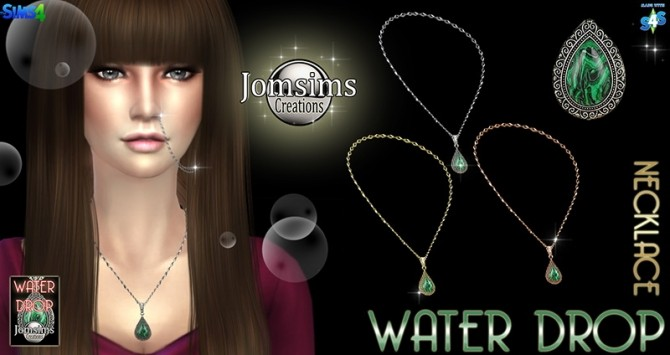 Sims 4 Water Drop necklace at Jomsims Creations