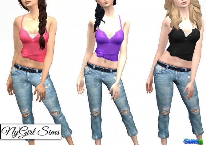 Racerback Collared Knot Tank at NyGirl Sims image 7516 670x473 Sims 4 Updates