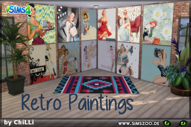 Retro Paintings 1 by ChiLLi at Blacky's Sims Zoo image 7711 Sims 4 Updates