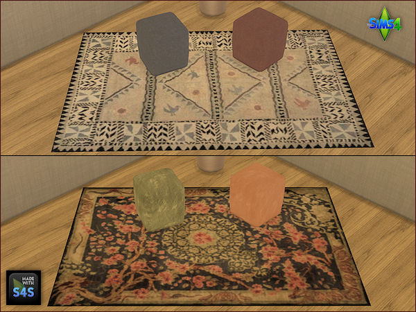 Sims 4 4 sets including two rugs and four pouffes at Arte Della Vita