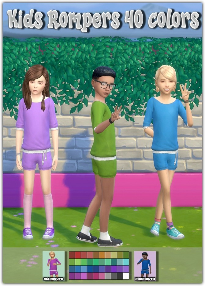 Sims 4 Kids Rompers at Maimouth Sims4