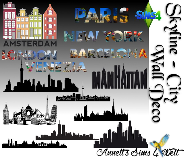 Skyline city wall deco at annett s sims 4 welt sims 4 for Deco appartement sims 4