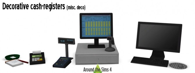 Sims 4 Decorative cash registers & computer at Around the Sims 4