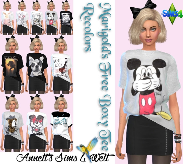 Marigold S Free Boxy Tee Recolors At Annett S Sims 4 Welt