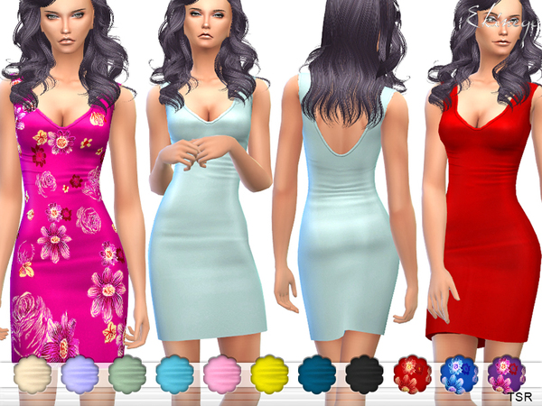 Sims 4 Plunge Neck Bodycon Mini Dress by ekinege at TSR