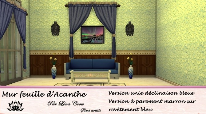 Sims 4 Acanthus Leaf Wall by LénaCrow at Sims Artists