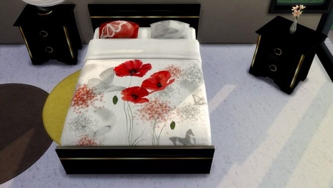 Sims 4 Red and black sheets by Dyokabb at Les Sims4