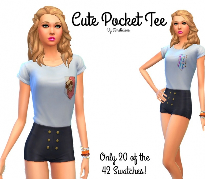 Cute Pocket Tee At Simelicious 187 Sims 4 Updates