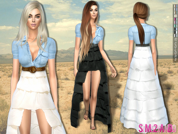 Sims 4 Boho waterfall dress by sims2fanbg at TSR