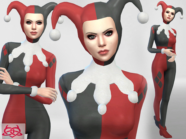 Set Hat/Outfit/Shoes Harley Quinn by Colores Urbanos at TSR image 1077 Sims 4 Updates