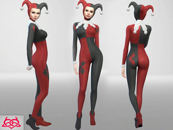 Set Hat/Outfit/Shoes Harley Quinn by Colores Urbanos at TSR image 1087 Sims 4 Updates