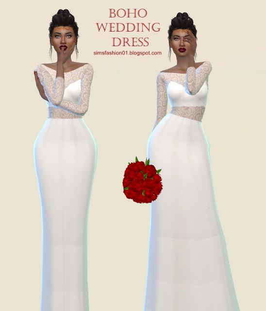Boho Wedding Dress at Sims Fashion01 image 115 Sims 4 Updates