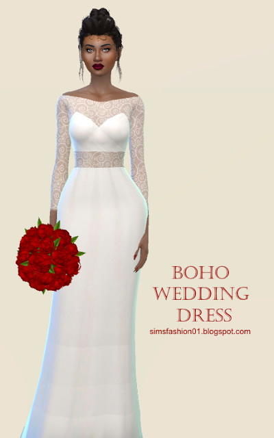 Sims 4 Boho Wedding Dress at Sims Fashion01
