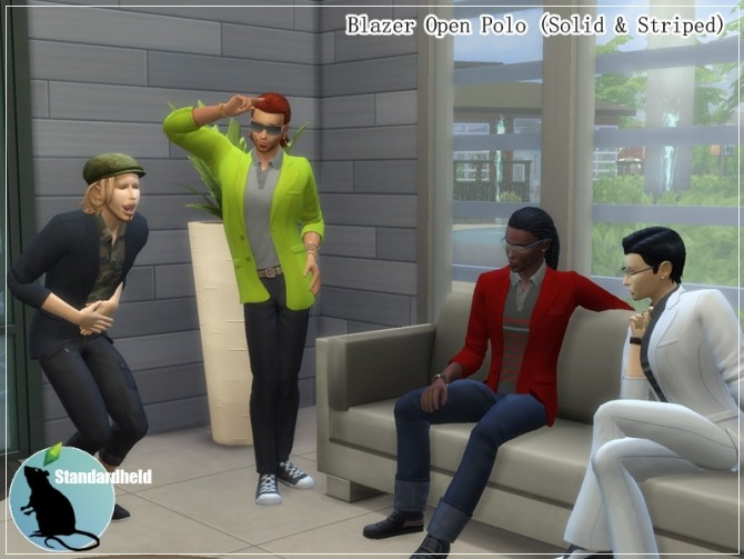 Sims 4 Blazer Open Polo by Standardheld at SimsWorkshop