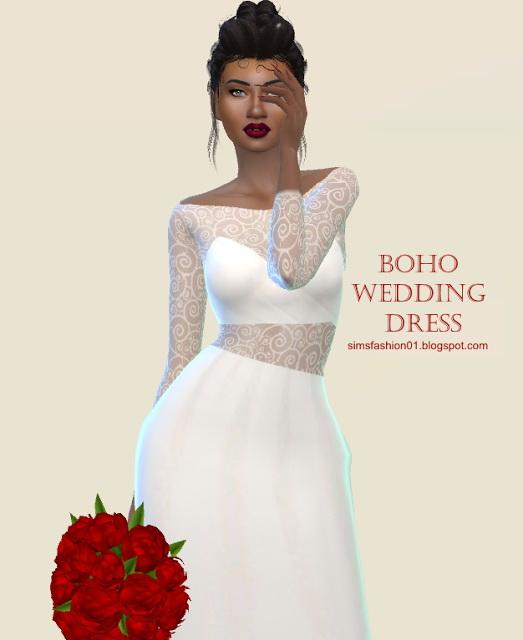 Boho Wedding Dress at Sims Fashion01 image 117 Sims 4 Updates