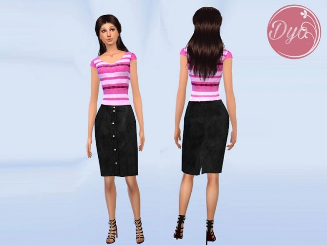 Leather Skirt Sweater outfit by Dyokabb at Les Sims4 image 1182 670x503 Sims 4 Updates