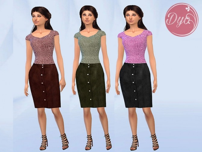 Sims 4 Leather Skirt Sweater outfit by Dyokabb at Les Sims4