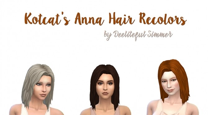 Sims 4 Kotcats Anna Hair Recolors by deelitefulsimmer at SimsWorkshop