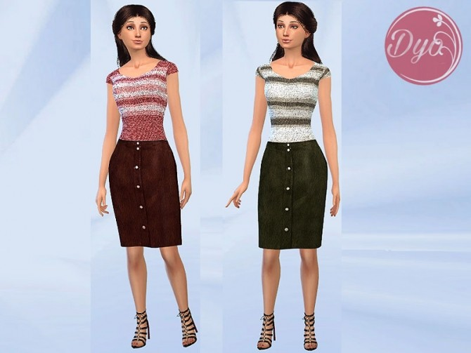 Leather Skirt Sweater outfit by Dyokabb at Les Sims4 image 1202 670x503 Sims 4 Updates