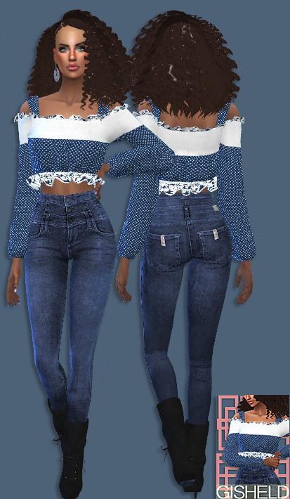 Marigold Off Shoulder Blouse Retexture at Gisheld image 1205 Sims 4 Updates