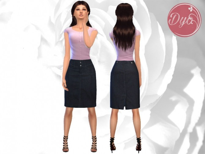 Sims 4 Denim skirt outfit by Dyokabb, at Les Sims4