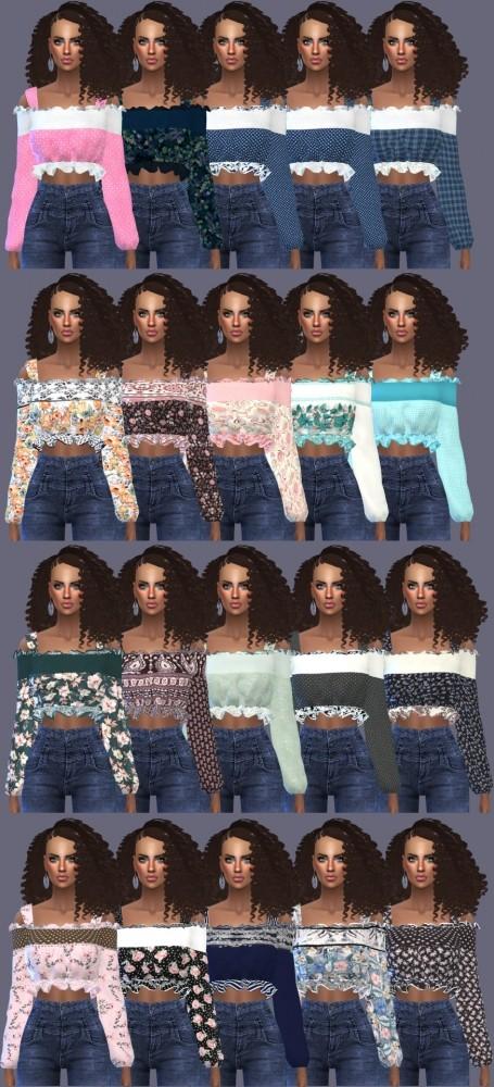 Marigold Off Shoulder Blouse Retexture at Gisheld image 1218 455x1000 Sims 4 Updates