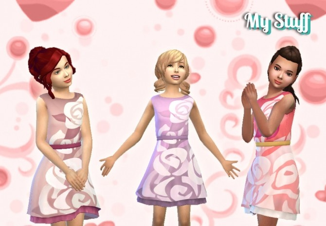Sims 4 Dress Boat Neck for Girls by Kiara Zurk at My Stuff