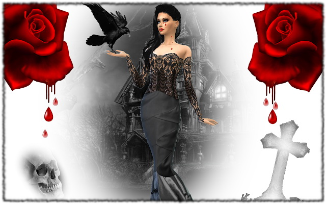 Gothique chic dress by Rosah21 at Sims Dentelle image 1237 Sims 4 Updates