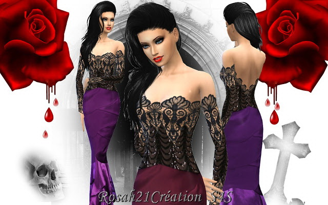 Gothique chic dress by Rosah21 at Sims Dentelle image 1249 Sims 4 Updates