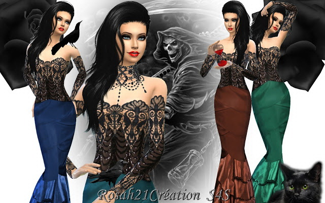 Gothique chic dress by Rosah21 at Sims Dentelle image 1258 Sims 4 Updates