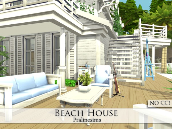 Sims 4 Beach House by Pralinesims at TSR