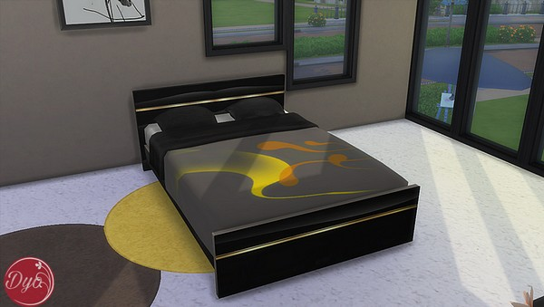 Sims 4 Black and gold bedroom by Dyokabb at Les Sims4