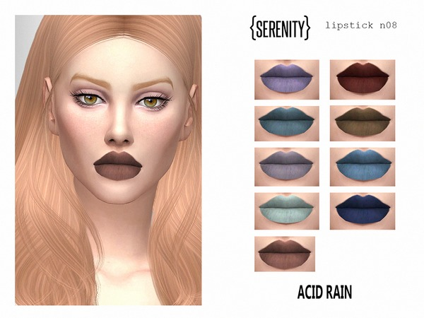 Sims 4 SRT lipstick N08 Acid Rain by serenity cc at TSR