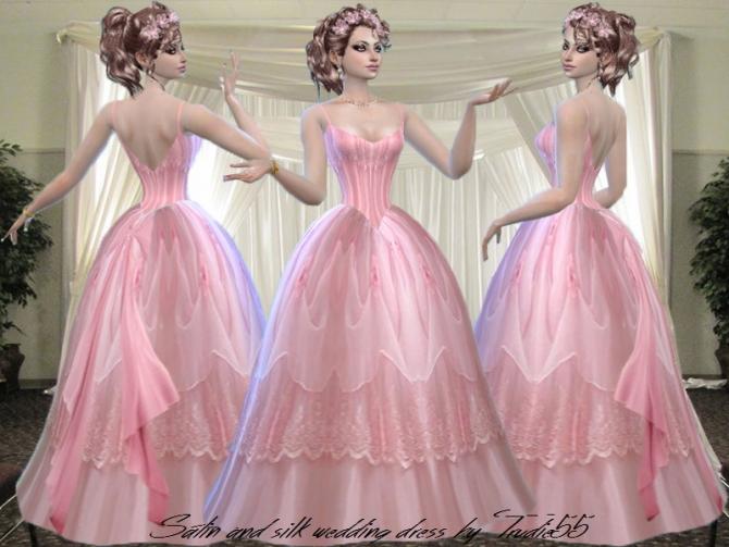 Pink Satin And Silk Wedding Dress At Trudie55 187 Sims 4 Updates