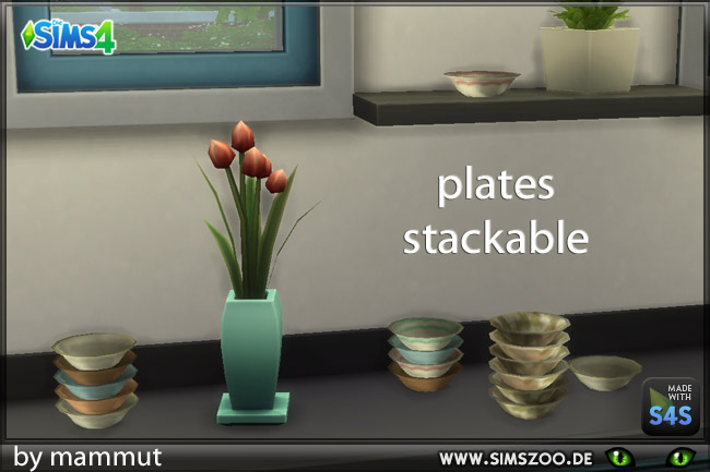 Sims 4 Stackable plates by Mammut at Blacky's Sims Zoo