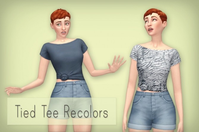 Sims 4 Backyard Tied Tee recolors at Simsrocuted